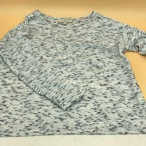 LOFT Cropped Back Silk Grey Sweater